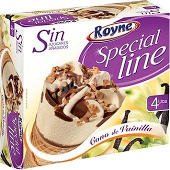 ROYNE SPECIAL LINE Cono de helado de vainilla sin azúcar añadido 4 unidades estuche 480 ml 4 unidades