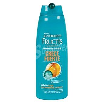Fructis Garnier Champú fortificante Crece Fuerte con ceramida y concentrado activo de frutas sin parabenos para cabello frágil con tendencia a caerse Frasco 300 ml