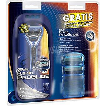 Gillette Recambio de maquinilla de afeitar estuche 3 unidades + mango gratis Estuche 3 unidades