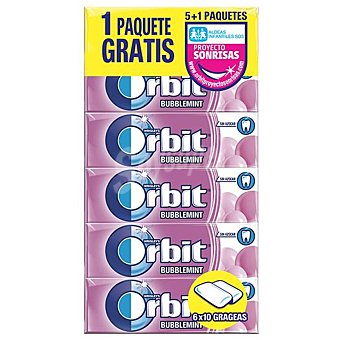 Orbit Chicle grageas sabor bubblemint Paquete 5 uds