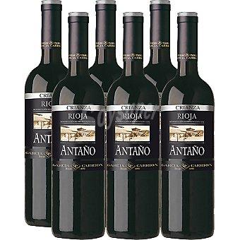 Antaño vino tinto crianza D.O. Rioja caja 6 botellas 75 cl