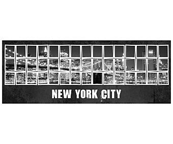 """IMAGINE Cuadro con una imagen nocturna en mosaico del puente y el """"skyline"""" de la ciudad de Nueva York y dimensiones de 30x80 centímetros 1 unidad"""