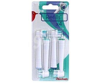 AUCHAN REFILLS Recambio cepillo dental profesional, 4 unidades, compatible: Qilive, Braun oralb, 4u