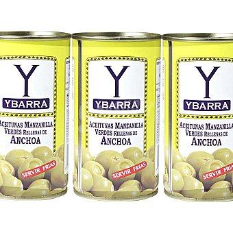 Ybarra Aceitunas rellenas de anchoas Pack 3 x 50 g