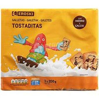 Eroski Galleta tostaditas Pack 3 x 200 g