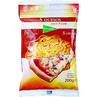 El Corte Inglés Queso rallado 5 quesos especial pizza Bolsa 200 g