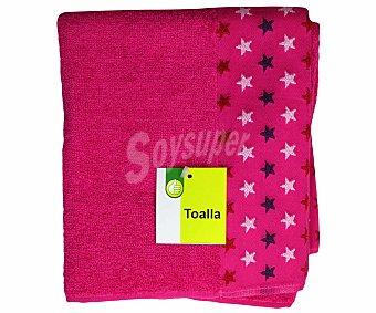 Productos Económicos Alcampo Toalla estampada jacquard de algodón, color rosa, 50x90 centímetros 1 Unidad