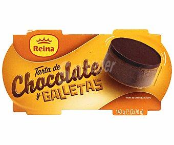 Postres Reina Postre de tarta de chocolate con leche y galletas 2 unidades de 70 gramos
