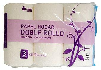 Bosque Verde Papel cocina blanco doble capa doble rollo Paquete 3 u
