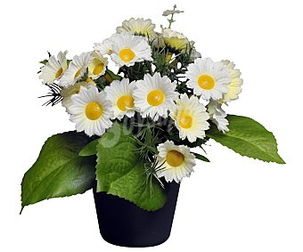 Essencial Maceta decorativa con flores de margarita artificiales color blanco con amarillo, 29 cm, essencial
