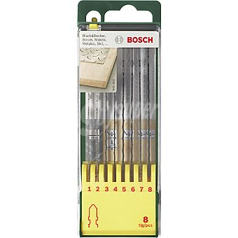 Bosch Set de 8 hojas de sierra de calar para madera y metal con insercion universal en forma de T