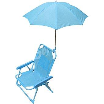 CASACTUAL Silla de acero plegable infantil con sombrilla en color azul