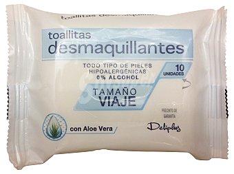DELIPLUS TOALLITAS FACIALES DESMAQUILLADORAS VIAJE PAQUETE 10 u