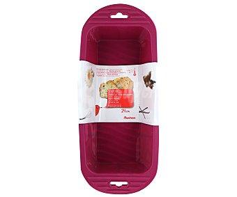 Auchan Molde rectangular para cake fabricado en silicona color rosa, 24 centímetros auchan