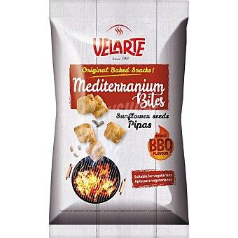 Velarte Mediterraneum Bites snacks de pan con pipas de girasol sabor barbacoa Bolsa 80 g