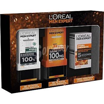 L'Oréal Men Expert Estuche con gel de ducha Hydra Sensitive frasco 300 ml + gel de ducha Hydra Energetic + crema facial Hydra Energetic dosificador 50 ml 1 frasco 300 ml