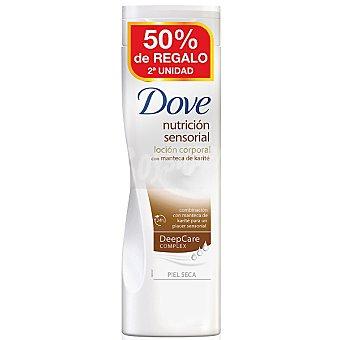 Dove Loción corporal nutrición sensorial con manteca de karité para piel seca (pack precio especial 2ª unidad al 50%) Pack 2 frasco 400 ml