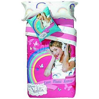 DISNEY Violetta Juego de sábanas en blanco con dibujos de arcoiris pequeños para cama 90 cm