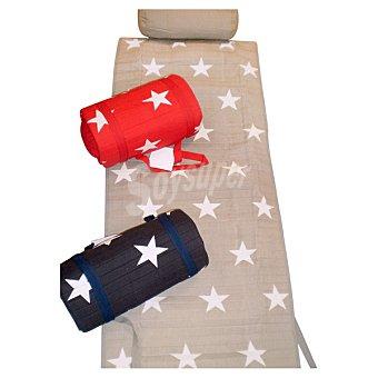 CASACTUAL  Toalla de playa con almohada y protección en color rojo 1 Unidad