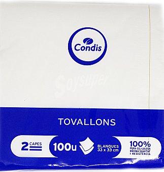 Condis Servilletas 33X33 2 capas 100 unidades