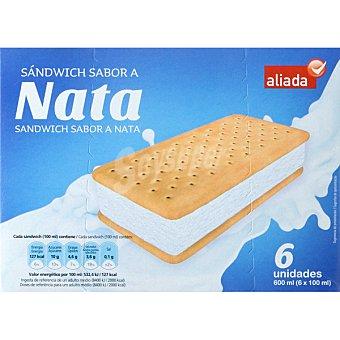 Aliada Sandwich helado sabor nata 6 unidades estuche 600 ml 6 unidades