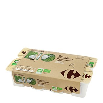 Carrefour Bio Yogur natural crema Pack de 8x125 g