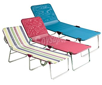 FIBERLINE Cama plegable para camping y playa. Fabricada en aluminio y textileno en toda la superficies, medidas: 191x67x42 1 unidad