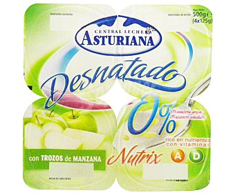 Central Lechera Asturiana Yogur Desnatado con Manzana 4 Unidades de 125 Gramos