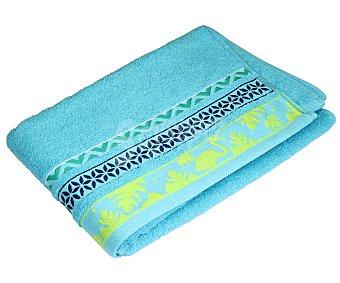 Actuel Toalla de ducha 100% algodón, 450g/m² de densidad, color azul turquesa con cenefa estampada, 70x140 centímetros 1 unidad