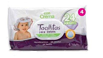 Deliplus Toallitas humedas bebe crema aloe vera Paquete 24 u