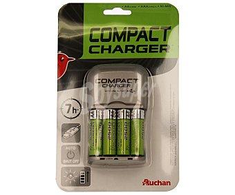 Auchan Cargador compacto para 4 pilas AA, LR06, 2500 MAh y conector Usb para la carga de cualquier aparato 1 unidad