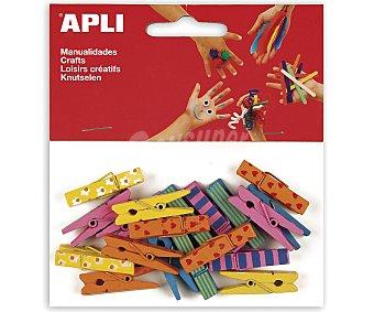 APLI Bolsa de 20 pinzas madera de 35 x 7 milímetros y de diferentes colores 1 unidad
