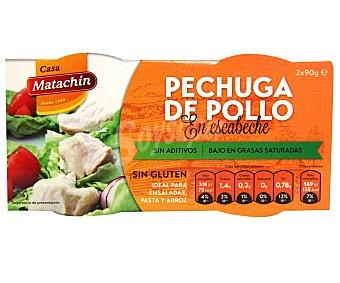 Matachín Pechuga de pollo en escabeche sin gluten Pack 2 u x 56 g