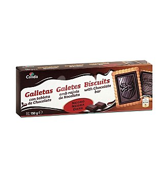Condis Galletas con tableta de chocolate negro 150 GRS