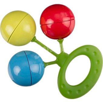 DOMBI Sonajero de 3 bolas de colores rojo, amarillo y azul