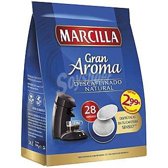 MARCILLA GRAN AROMA Café descafeinado natural 28 monodosis para cafetera Senseo paquete 210 g 28 monodosis