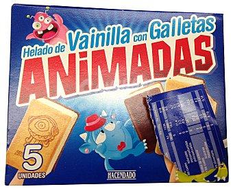 HACENDADO Helado palo vainilla con galletas animadas Caja 6 u