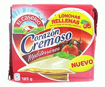 El Caserío Preparado Lácteo Cremoso Mediterráneo (lonchas de Queso con Relleno Preparado Lácteo con Albahaca y Tomate) 185g