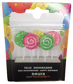 Roura Velas cumpleaños de animación (forma de piruleta) Paquete de 5 uds