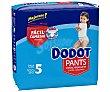 Pants pañal & braguita unisex de 12 a 17 kg talla 5 paquete 31 unidades Dodot
