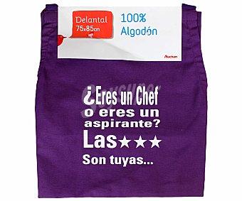Auchan Delantal estampado de algodón, color morado, 75x85 centímetros 1 Unidad