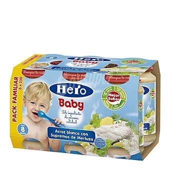 Hero Baby Tarrito de arroz blanco con supremas de merluza Pack 6x250 g