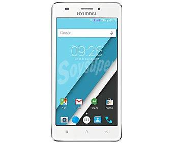 "Hyundai kore Smartphone libre blanco, procesador: Quad-Core, Ram: 1GB, almacenamiento: 8GB ampliable mediante MicroSD, pantalla: 5"" 854 x 480, cámara: 8 Mpx, Android 4.4"