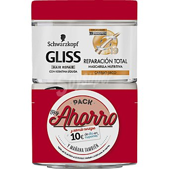 Gliss Schwarzkopf Mascarilla nutritiva reparacion total anti-rotura para cabello seco pack 2 tarro 200 ml Pack 2 tarro 200 ml