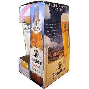 BENEDIKTINER Weissbier Cerveza de trigo alemana Estuche 3 botellas 50 cl + Vaso de regalo Estuche 3 botellas 50 cl
