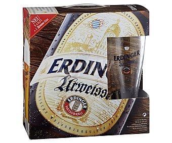 Erdinger Cervezas alemanas de trigo más un vaso de regalo Botella de 50 centilitros pack de 5