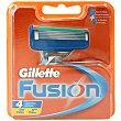 Recambio fusion 4 unidades Gillette