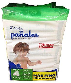 DELIPLUS Pañal de 9 a 15 kg Talla 4 (más fino)  3 paquetes de 34 unidades