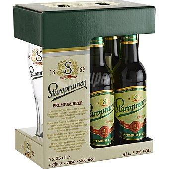 Staropramen Cerveza rubia lager checa Pack 4 botellas 33 cl