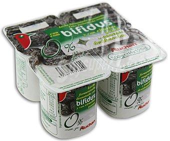 Auchan Yogur sin grasas con bifidus, ciruelas y pasas (leche fermentada desnatada con ciruelas, pasas y bifidobacterias. Con azúcar y edulcorantes) Pack de 4 unidades 125 gramos